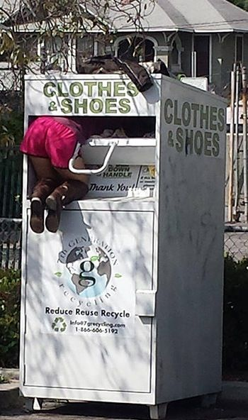No Way Girl - Donate Clothes & Shoes Don't Steal Them! - Donation Bin Fail WTF  ---- best hilarious jokes funny pictures walmart humor fail