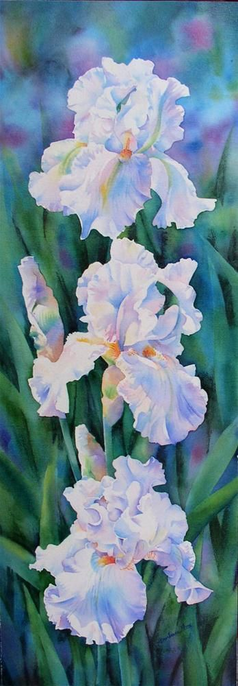 """THREE GRACES -  iris flower watercolor painting"" original fine art by Barbara Fox"
