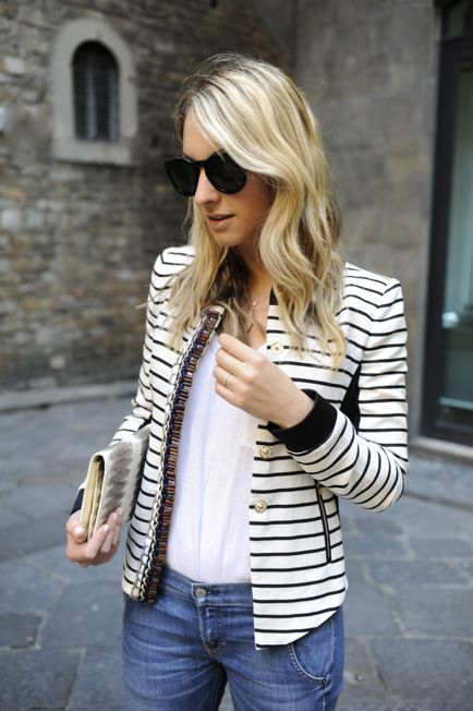 classic: Fashion, Cupcake And Cashmere, Street Style, White Shirts, Outfit, Jeans, Black White, Stripes Blazers, Stripes Jackets