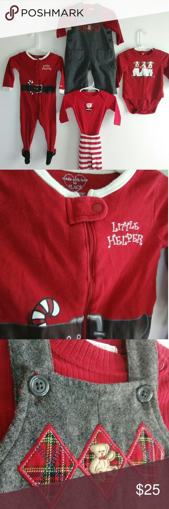 """Baby 8 Piece Christmas Bundle!! Make offer!! 6 baby boy Christmas outfits, 8 pieces!! What's included: * Wool overalls with red onesie, Children's Place,size 0-3 months. *Candy cane onesie that says """"little helper"""" on the front, Children's Place, size 9-12months. *3 dog red onesie, Children's Place, size 9-12 months *""""My First Christmas"""" red onesie, with matching red and white pants, with Santa feet, Carter's, 6-9 months. *Polar bear light blue and white onesie, """"Honor's Baby"""" size 3-6…"""