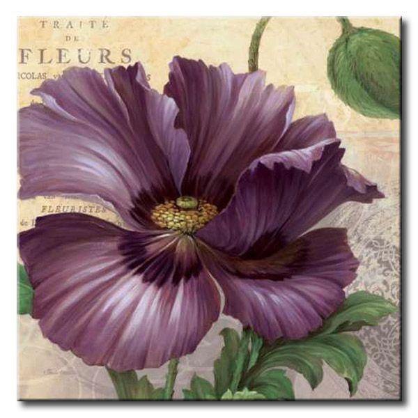 GlA_597_Purple Garden I / Cuadro Flores, Flor lila sobre fondo Vintage