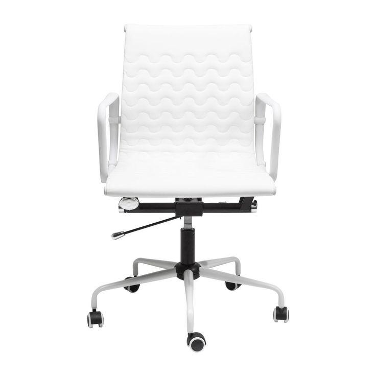 Chaise de bureau blanc design & pivotante - Wave - Kare Design