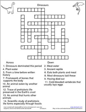 Crossword: Dinosaurs and sooo many more on this site! I WILL want to ...