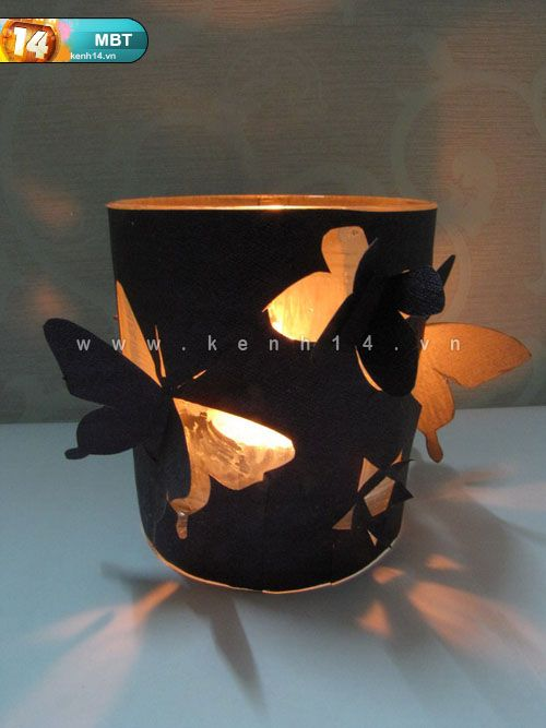 DIY Lampion met vlinders (uitgeprikt) mooi contrast door zwart of donker papier. Guide to cute lamp | Instruction Blog