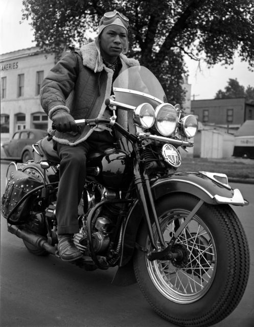 "stuffaboutminneapolis: ""African-American man on his 1947 Harley-Davidson Knucklehead motorcycle. (1947) via Minnesota Historical Society """