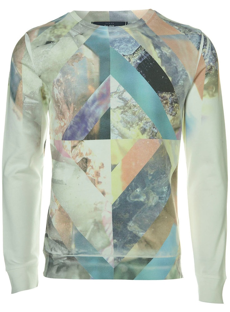 Topman - White Longsleeve Sweatshirt with Crystal Galaxy All Over Sublimation Print Detail. 53% Cotton,47% Polyester. Machine washable.