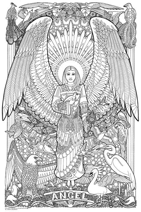 Angel - Giant Colour In Poster Kit Angel Fantasy Myth Mythical Legend Wings Warrior Valkyrie Anjos Goth Gothic Coloring pages colouring adult detailed advanced printable Kleuren voor volwassenen coloriage pour adulte anti-stress kleurplaat voor volwassenen