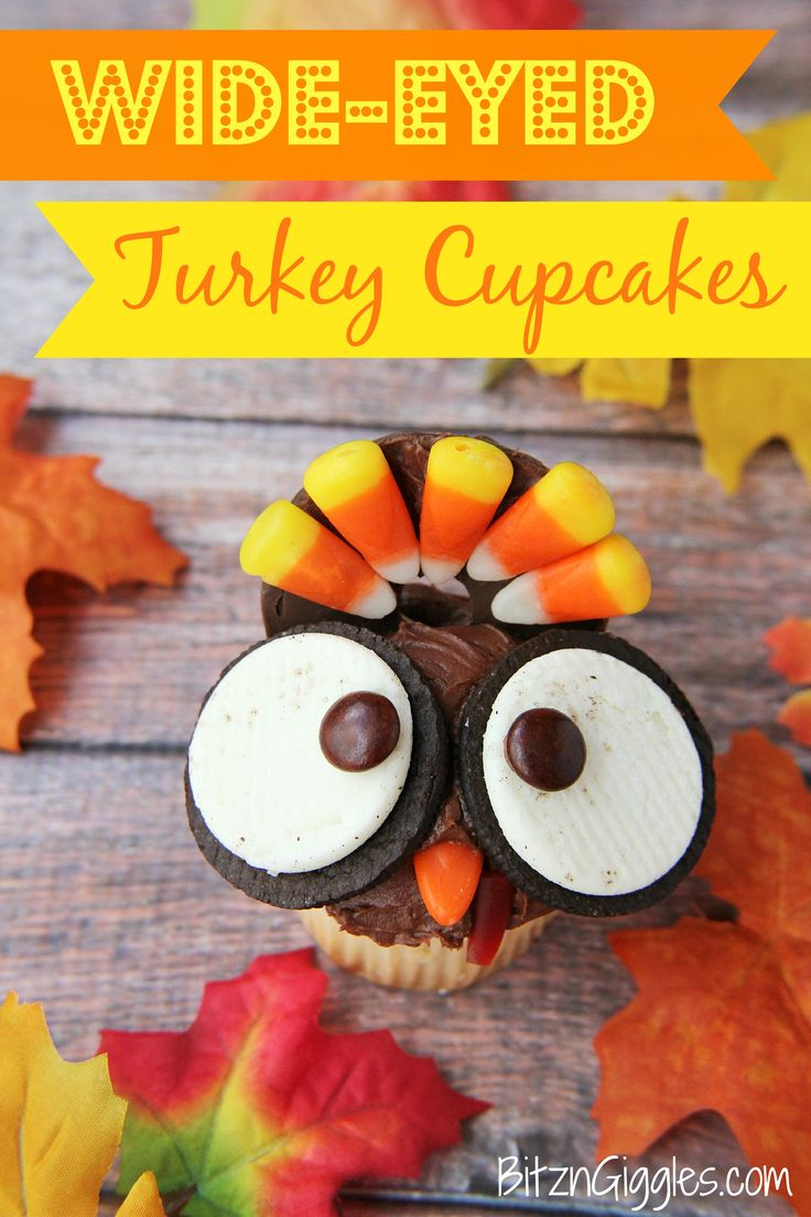 Wide Eyed Turkey Cupcakes are a fun Thanksgiving dessert!