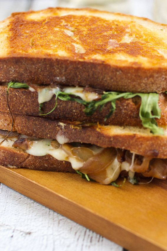 Caramelized Onion, Mushroom and Arugula Grilled Cheese via A Little Red Kitchen