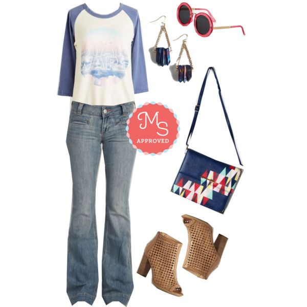 In this outfit: Skywalker's the Limit Top, Flare and When Pants, Mod My Rounds Sunglasses, Mystical Moon Earrings, Personal Style Pep Talk Bag, Innovative Instinct Bootie #graphictee #casual #denim #StarWars #booties #spring #fashion #outfits #ModCloth #ModStylist