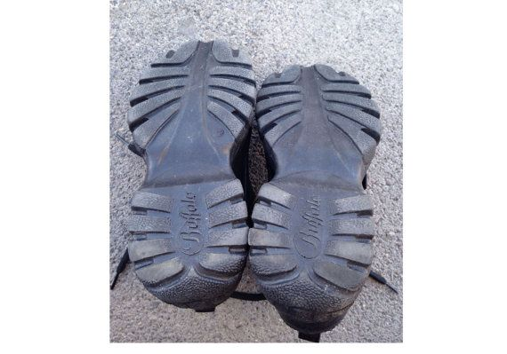 90er Jahre BÜFFEL Plattform SNEAKER Schuhe schwarz Leder