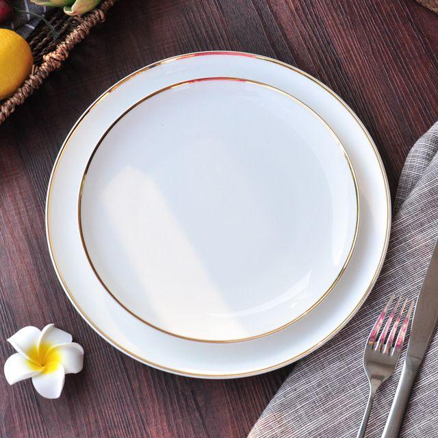Borda de ouro Luar Branco Puro 8/10 Polegadas Plana Disco Ocidental-estilo Placas de Cerâmica