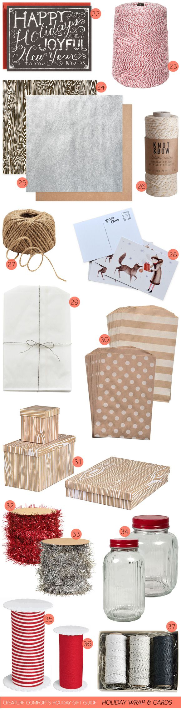 Creature Comforts Holiday Gift Guide: Wrap +Cards - Home - Creature Comforts - daily inspiration, style, diy projects + freebies