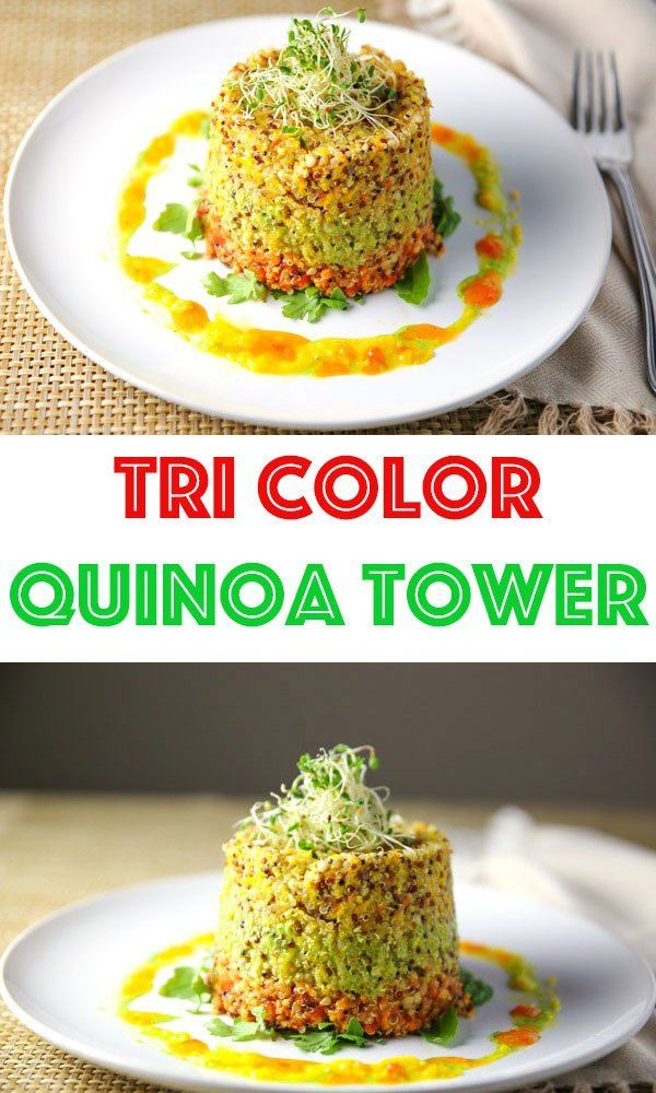 This Tri Color Quinoa Tower can be made as an appetizer or main dish. Flavored with Pesto, and Bell Pepper Sauce, this is sure to please any crowd!