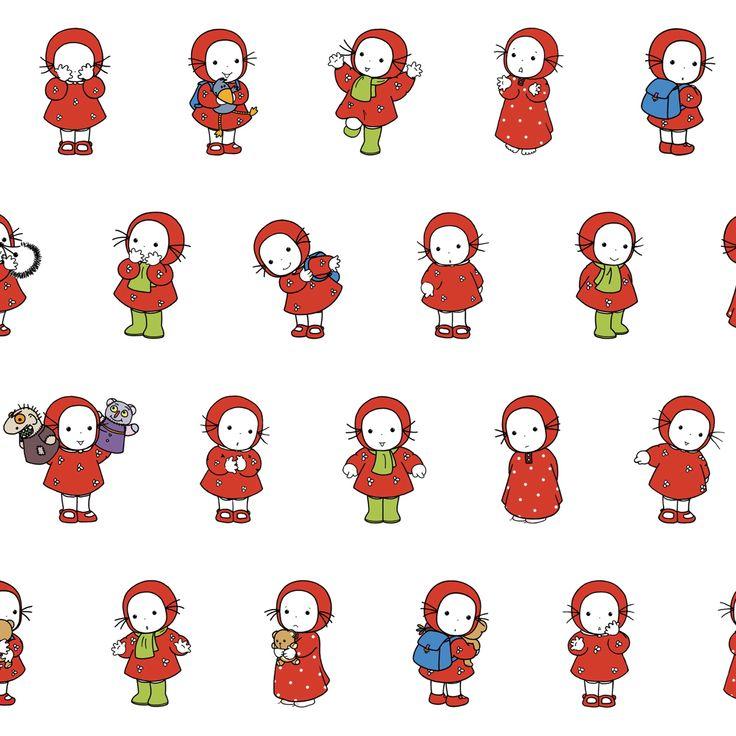 """Tissu """"Emilie, petite frise"""" par Domitille de Pressensé, 25 x 140 cm - Tissus personnalisés/Emilie par Domitille de Pressensé - Motif Person..."""