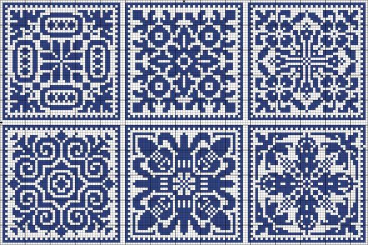 Six blue tiles | Charts for cross stitch or filet crochet.