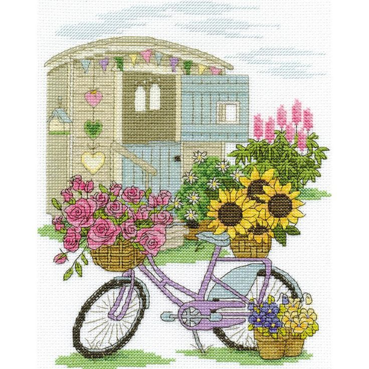 "Flowery Bicycle Counted Cross Stitch Kit-8""X10"" 14 Count"