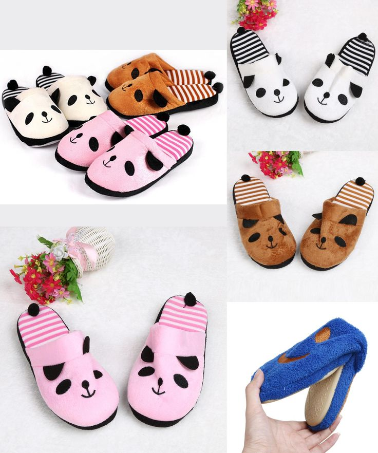 [Visit to Buy] Ulrica 2017 New Arrival Slippers Women Indoor Winter Cotton Lovely Cartoon Panda Home Floor Soft Stripe Slippers Female Shoes #Advertisement