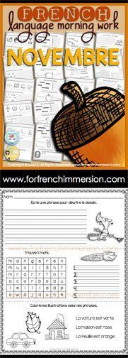 French Language Morning Work - 20 worksheets with exercises in French NOVEMBER - en français NOVEMBRE