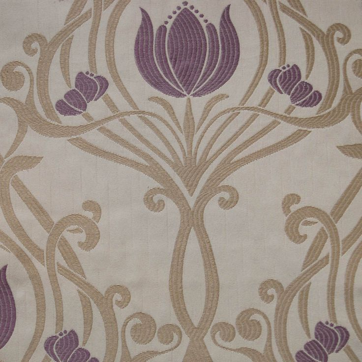Art Deco Art Nouveau Purple Flat-Weave Curtain and Upholstery Fabric   Art Nouveau  Amethyst Serpentine Floral from Loome Fabrics
