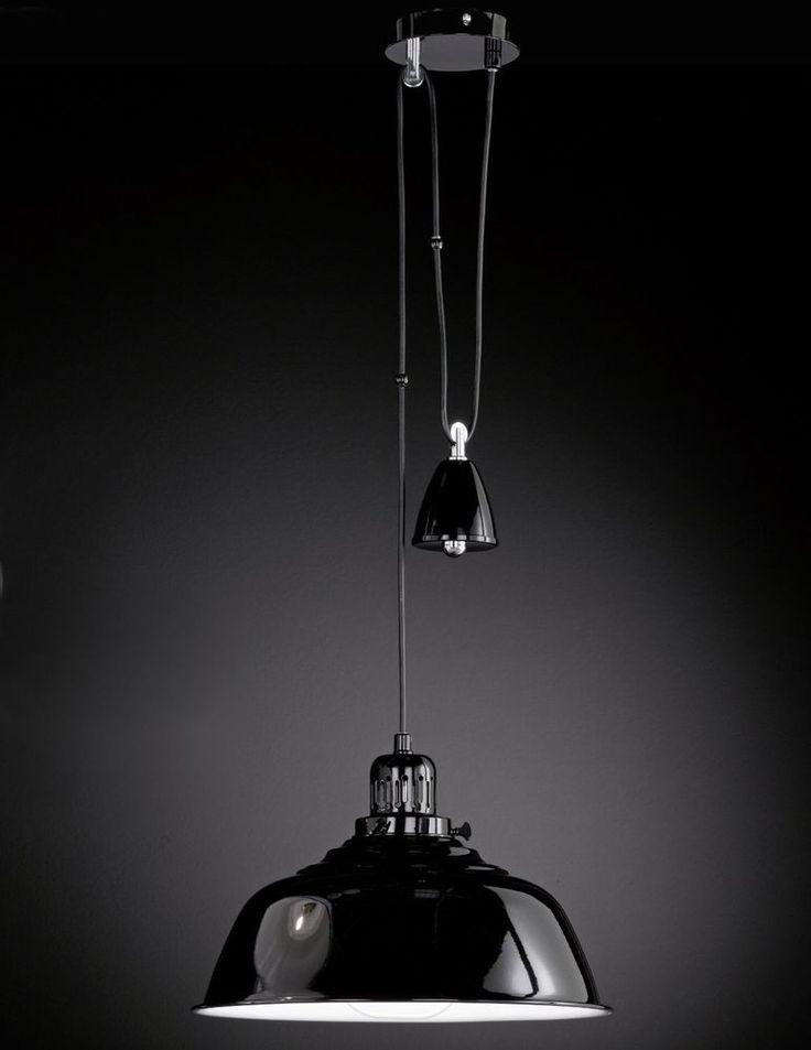 Hängeleuchte Pendelleuchte Pendellampe höhenverstellbar schwarz rund Metall