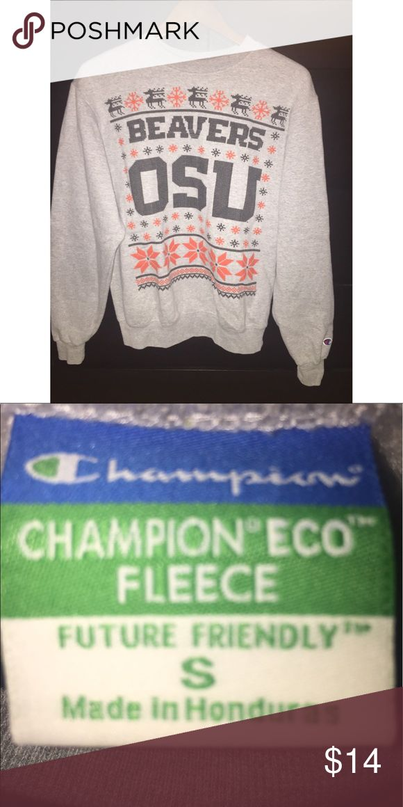 Oregon State University Holiday Crewneck Cozy OSU holiday-themed crewneck sweater from brand Champion. Size small. Worn once or twice, no damage or distress. Excellent condition. Very warm and comfortable. Champion Sweaters Crew & Scoop Necks