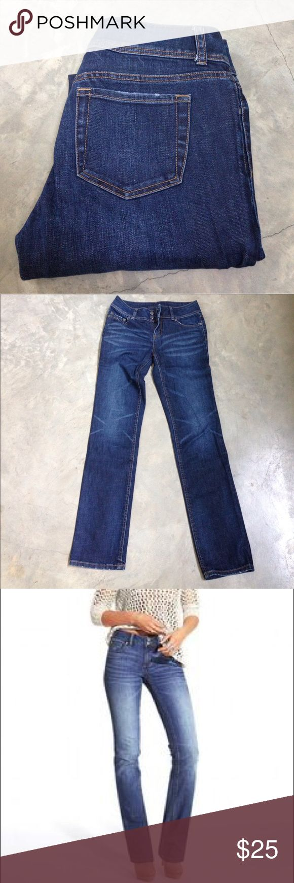 """London Jean Hipster Straight-Leg Jeans The flawless fit you love, now available in straight leg. Wide-contoured waistband prevents back gapping. Size 6L with 33"""" inseam. Straight leg with 14'' leg opening. Mid rise, straight slim fit; cotton 98%, spandex 2%. London Jean Jeans Straight Leg"""