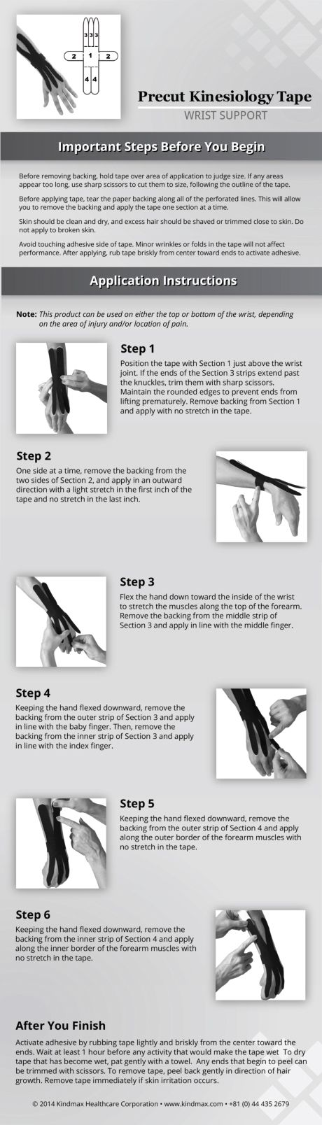Wrist support with precut kinesiology tape #PrecutTape #TapingInstructions #StepByStepTaping #Kinesiotape
