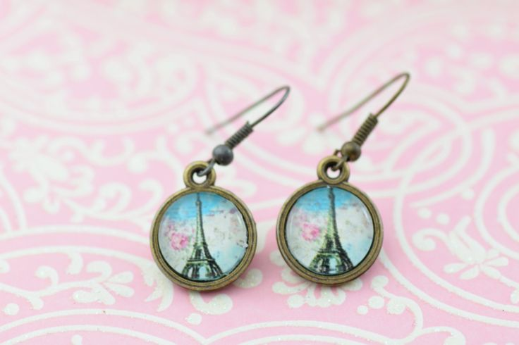 Eiffel Tower Paris Romantic Small Glass Pendant Bronze Earrings by PaintedPugCreations on Etsy