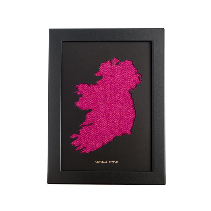 """Persian Pink"" - Map of #Ireland with luxurious Donegal #tweed underlay. Designed and handmade in Ireland."