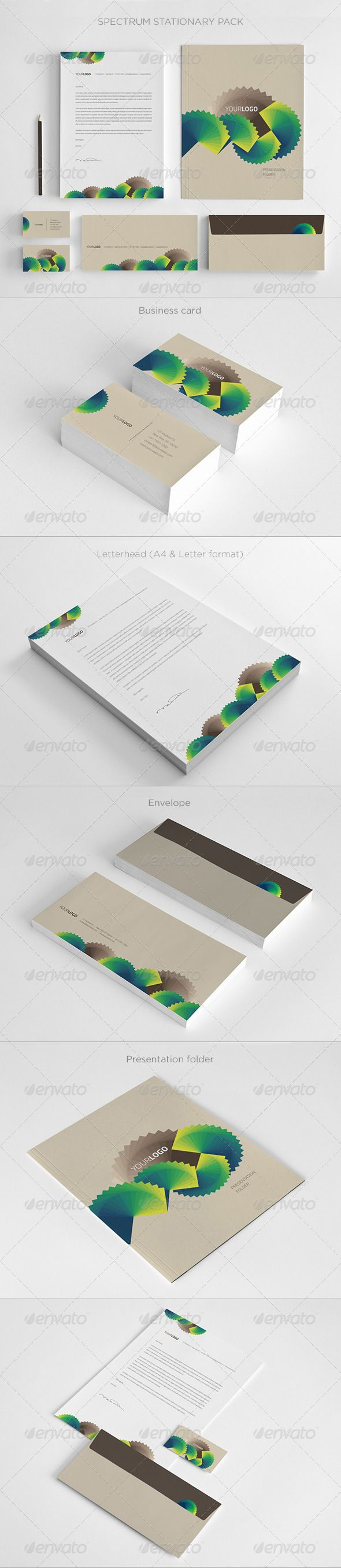 Spectrum Stationary  #GraphicRiver         SPECTRUM STATIONARY   Pack includes   · Letterhead A4 and Letter size   · Business Card (3,5×2)   · Envelope (8.27×3.9)   · Presentation Folder (9×12)   · Editable Illustrator files (.AI and .EPS)   · Textures   · 300 dpi, CMYK (print ready)   · 3mm bleed and crop marks   · Easy to customize   · Help file   Fonts   Titillium   You can find the matching brochure here   You can find the matching trifold here     Created: 21September13…