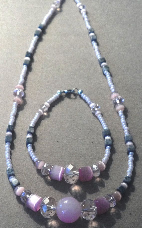 2 piece handmade pink and gray natural by MGBeadCreations on Etsy, $30.00