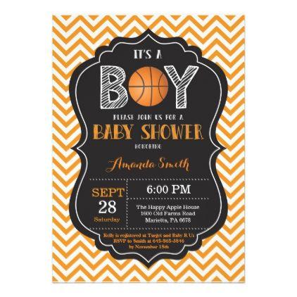 Basketball Baby Shower Invitation Orange Chevron - invitations custom unique diy personalize occasions