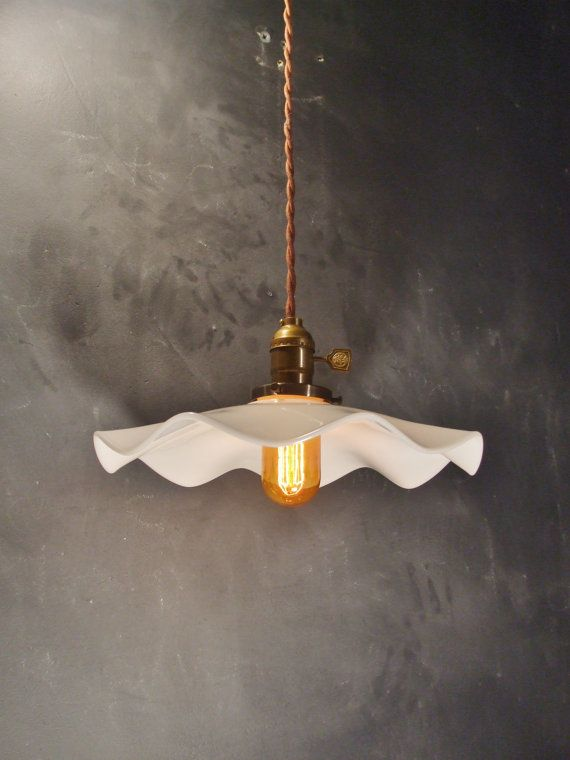 Vintage Industrial Hanging Light   Machine Age Minimalist Bare Bulb Pendant  Lamp, Ruffle Opal Shade