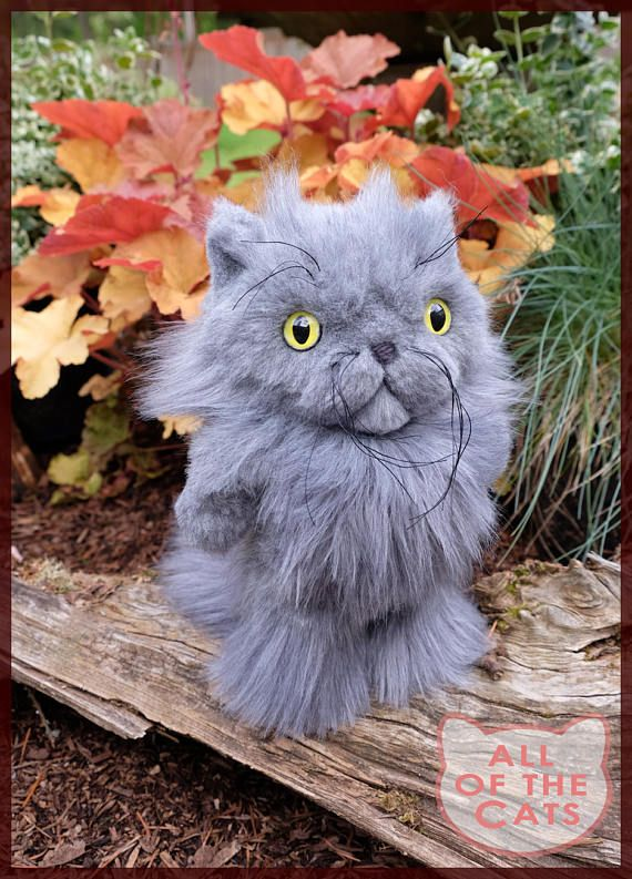 On Hold For Hanna Grey Long Hair Ooak Cat Plushie Blue Cat Blue Cats Yellow Green Eyes Custom Cat