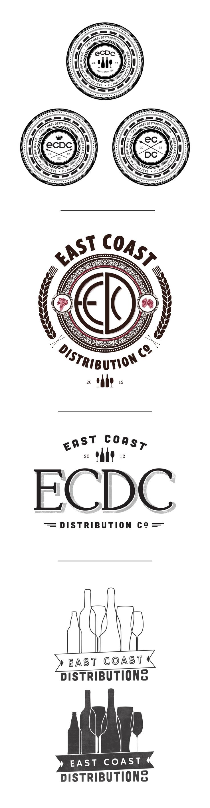 Logo design mock ups for East Coast Distribution Co.