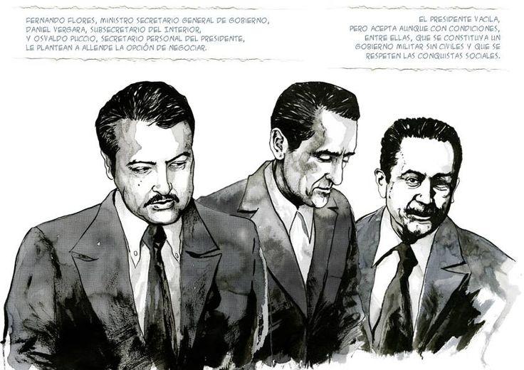 La ilustración muestra la escena en que Flores, Vergara y Puccio le plantean la posibilidad de negociar a Allende tras el suicidio de Olivares.