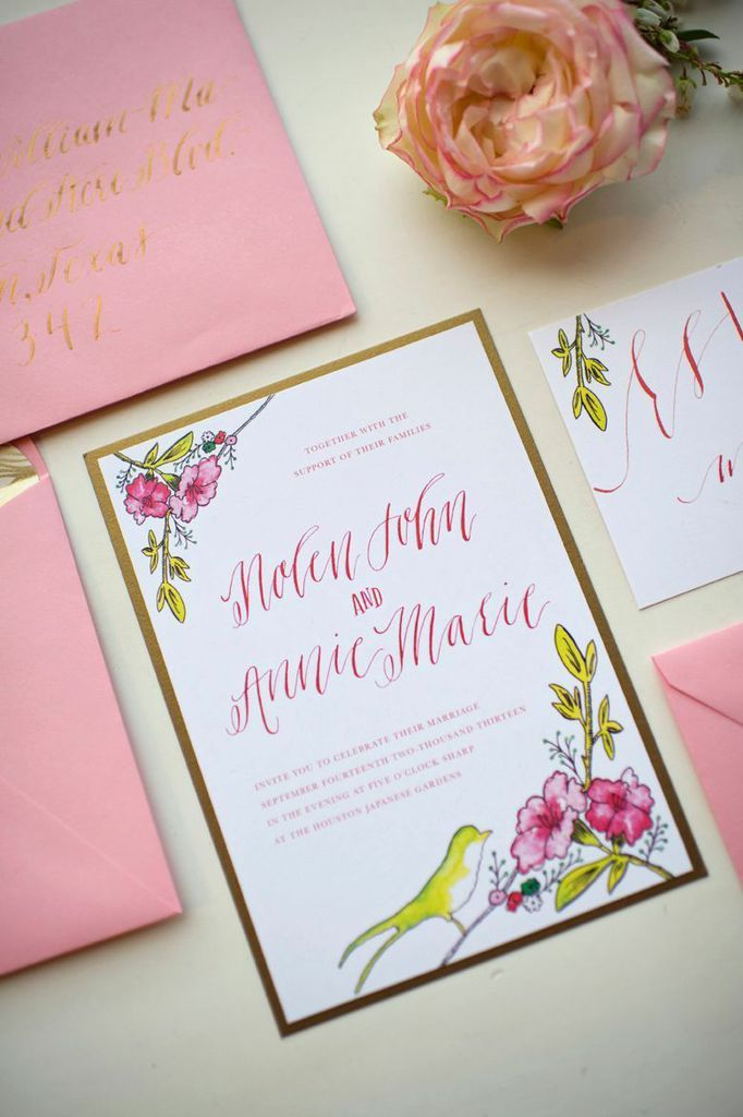 Gold and Pink Wedding Stationery by The Weekend Type | photography by http://www.alysefrenchphotography.com