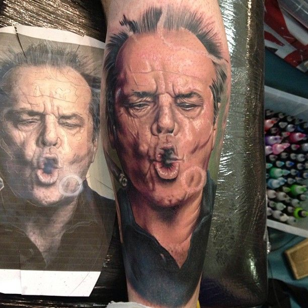 Jack Nicholson Colour Portrat Tattoo By Chris Jones At The