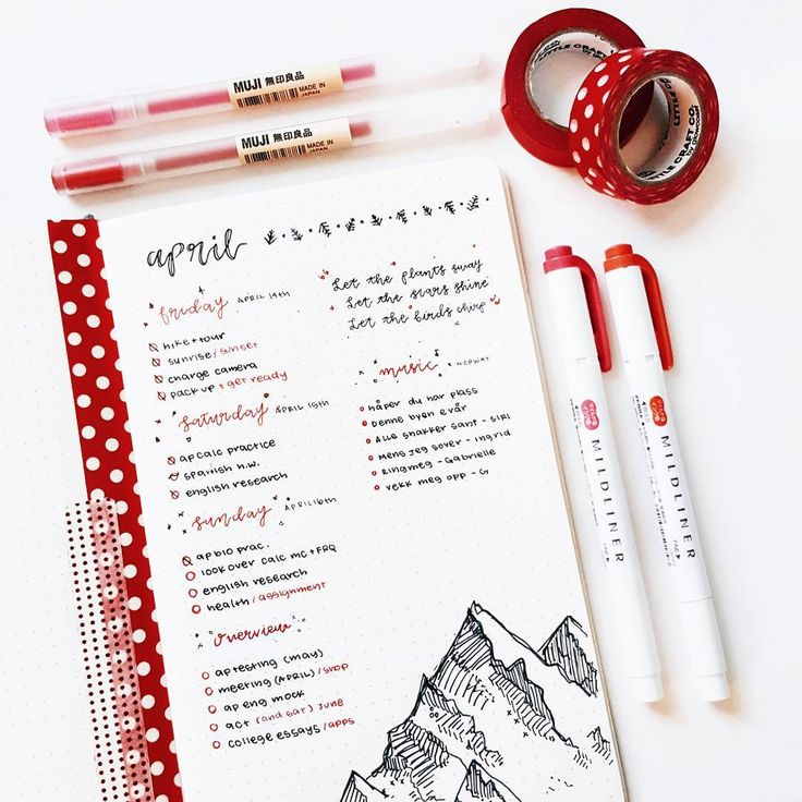 "8,857 Likes, 54 Comments - Brian Qian (bullet journal) (@studywithinspo) on Instagram: ""red weekend spread // i spent my morning listening to music and bullet journaling. ☕"""
