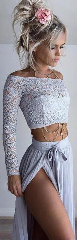 Off Shoulder Lace Long Sleeve Side Split Long Skirt Two Pieces Dress