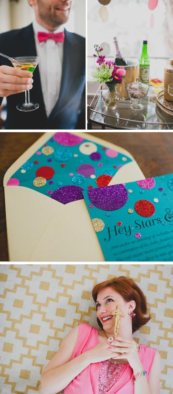 Oscar Night Party Ideas - I love those glittered invitations!