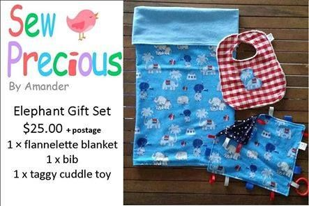 Handmade by Sew Precious By Amander Elephant Gift Set