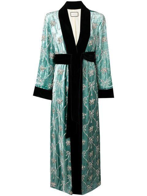 0afb18a225 Gucci Embellished Robe Coat in 2019 | Dress up | Robe coat, Coat ...