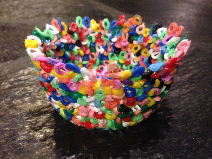 Bowl made with melted Hama beads by Perletid