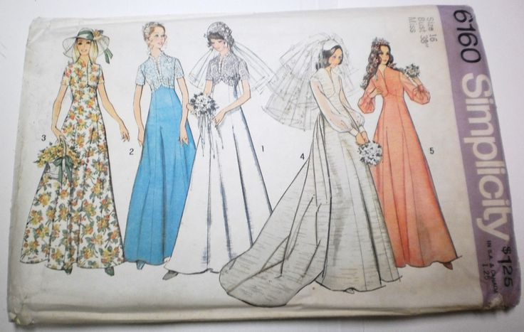 Vintage 70's Sewing Pattern Wedding Dress  variations with Detachable Train and Bridesmaids' Dresses: Style Bridesmaid, Clothing Patterns, Dress Sewing Patterns, Bridesmaid Dresses, Bridesmaid Detached, Boho Bridesmaid, Middleton Style, Boho Style, Dresses Sewing Patterns
