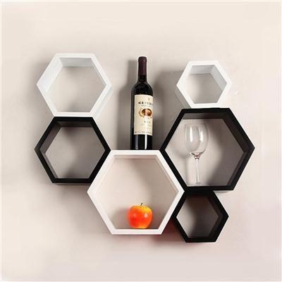 Buy Desi Karigar Wall Mount Shelves Hexagon Shape Set of 6 Wall Shelves - White