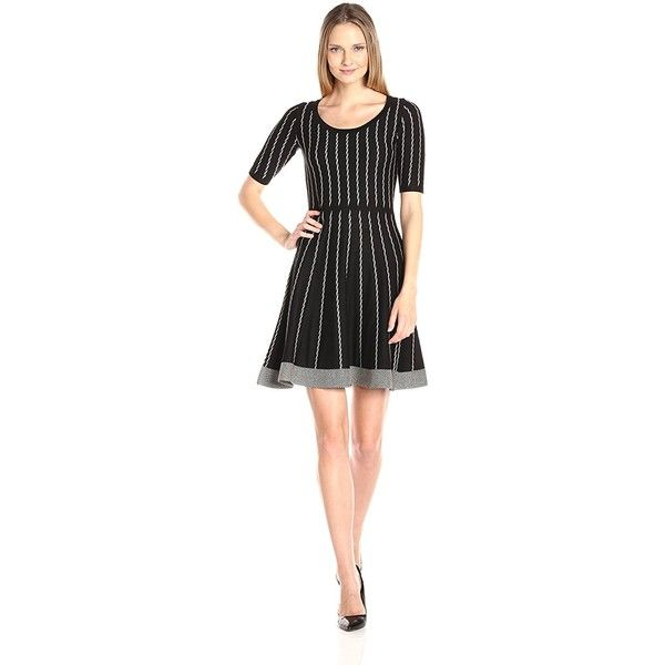 Gabby Skye Women's Fit and Flare Dotted Stripe Sweater Dress ($44) ❤ liked on Polyvore featuring dresses, sweater dresses, polka dot dress, dot dress, fit and flare dress and gabby skye dresses