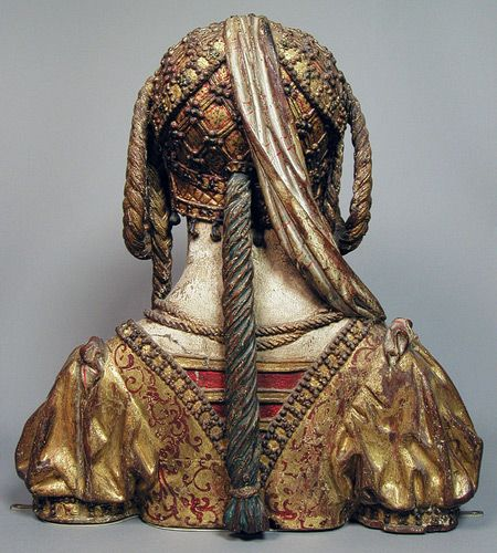 Reverse of Reliquary Bust of Saint Balbina, ca. 1520–30. Made in possibly Brussels, Belgium  South Netherlandish  Painted and gilded oak