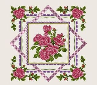 ENCANTOS EM PONTO CRUZ: Linda Toalha de Mesa com Rosas Cor de Rosa